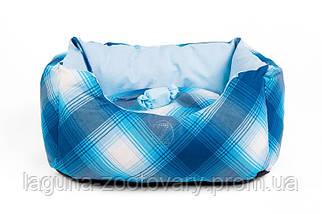 """Двухсторонний лежак для собак и кошек """"ТВИСТ"""" №2, синий, 52х35х25см"""