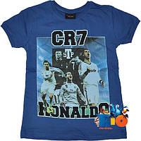 """Яркая футболка с принтом """"Ronaldo"""" , трикотаж , для мальчика  (рост 140-152-164-176 см)(4 ед. в уп.)"""