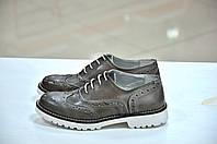 Женские итальянские кожаные кофейно-коричневого цвета туфли на шнуровке с перфорацией броги Verve