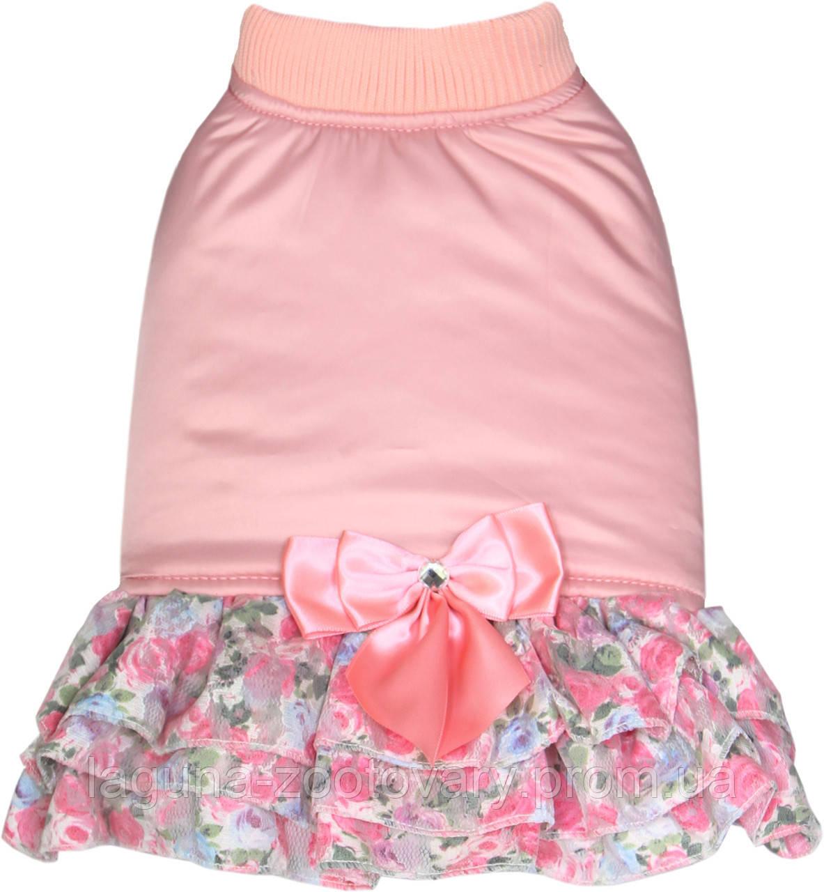 """Платье - пальто """"ШАНТЕ"""" для собак и щенков, размер  M,  розовый"""