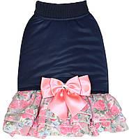 """Платье - пальто """"ШАНТЕ"""" для собак и щенков, размеры S, M, L, синий"""
