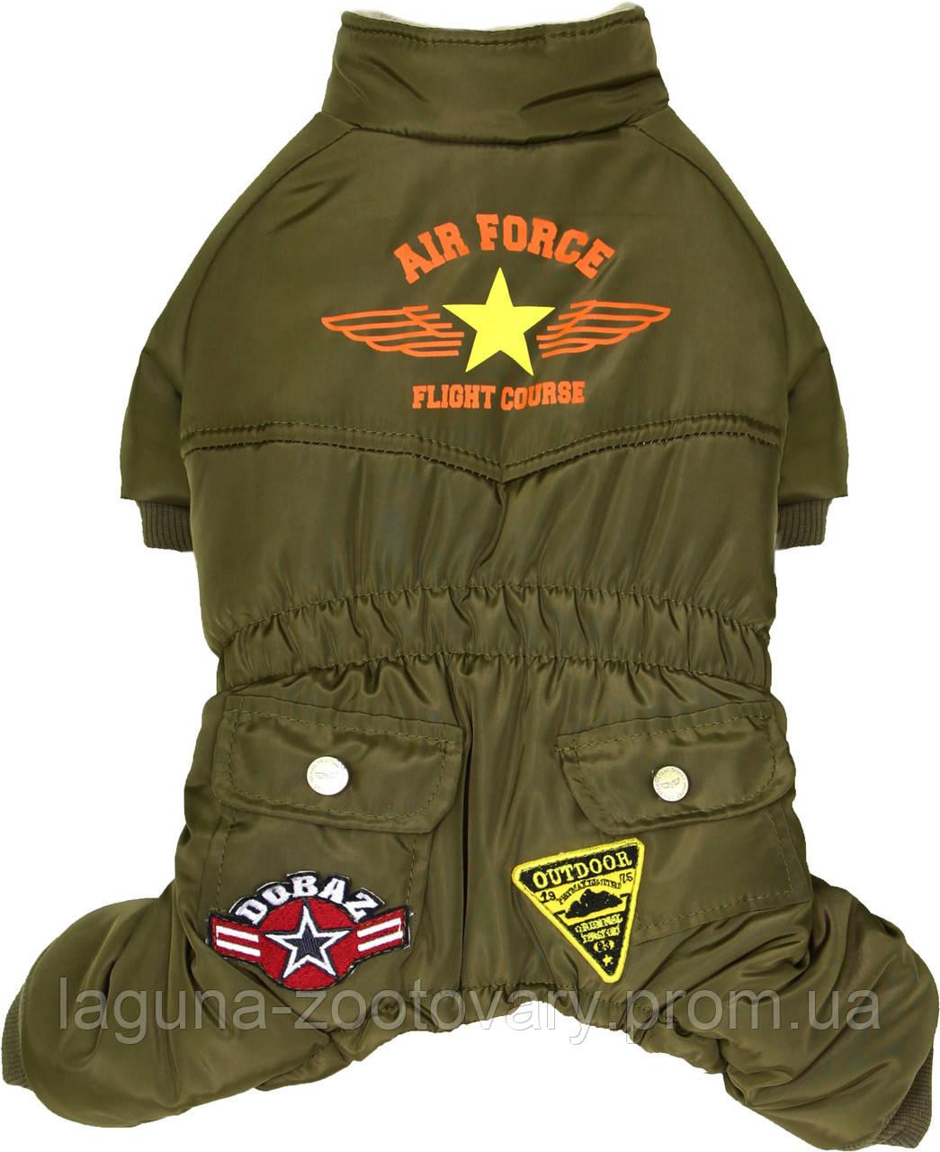 """Комбинезон """"Пилот ВВС"""" для собак и щенков, оливковый,  размер S"""
