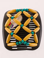 Этническая заколка для волос African butterfly Ndebele на основе 2-х гребней черная
