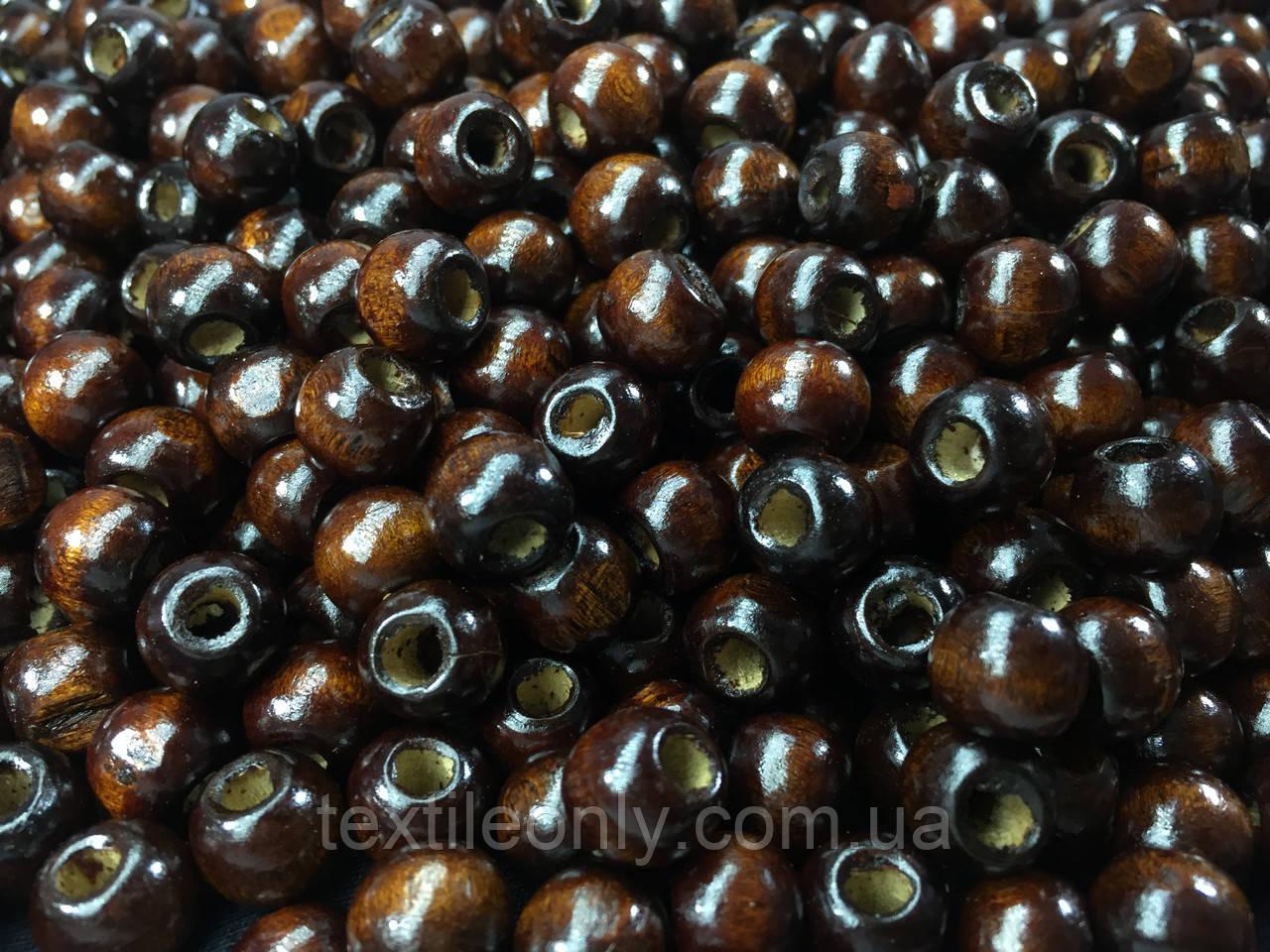 Деревянные бусины темно коричневые упаковка 1 кг
