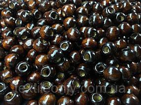 Дерев'яні намистини темно коричневі упаковка 100 шт