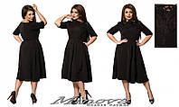 Черное платье из креп костюмки Миринда (размеры 48-54)