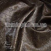 Ткань Лакированный кожзам плотный рептилия (коричневый)