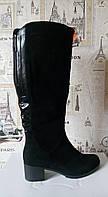 Женские черные комбинированые сапожки, в наличии 37 размер