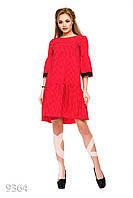 Красное в горошек пышное платье-трапеция с кружевной отделкой