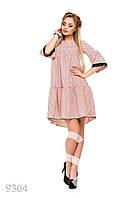 Розовое в горошек пышное платье-трапеция с кружевной отделкой