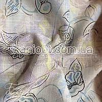 Ткань Лен органза (голубые цветы)
