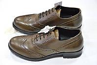 Женские итальянские кожаные коричневые туфли на шнуровке с перфорацией броги  Roberta Lopes , фото 1