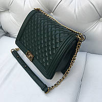 Сумка Chanel le Boy Grand макси размер зеленая кожа икра