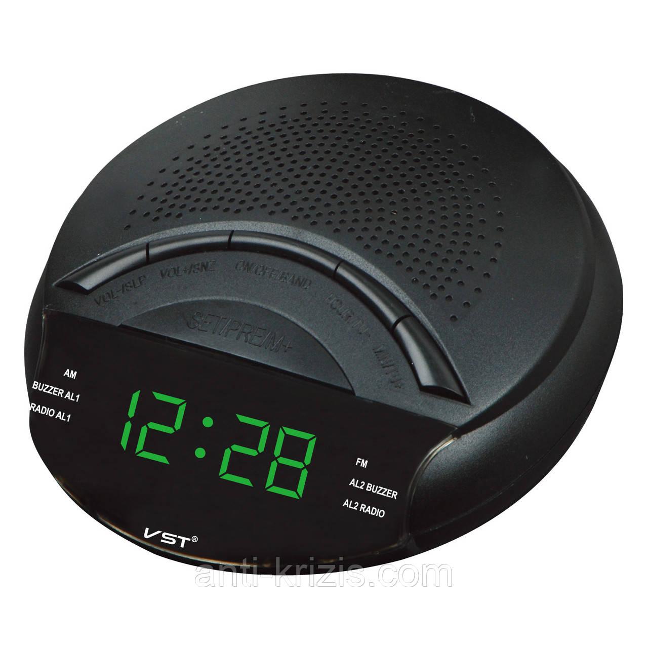 Часы сетевые 903-2 зеленые, радио FM