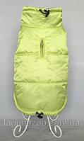 """Зимняя непромокаемая куртка для собак """"Стайл"""", размеры S, M, L, XL,2XL,  цвет - салатовый  /сирень"""