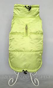 """Зимняя непромокаемая куртка для собак """"Стайл"""", размеры S, M, L,  цвет - салатовый  /сирень"""