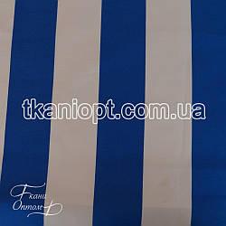 Ткань Оксфорд 600d pu бело-синя полоска на молоке(210 gsm)