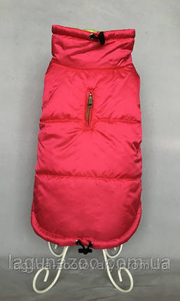 """Зимняя непромокаемая куртка для собак """"Стайл"""", размеры S, M, L, XL,  цвет - малиновый/салатовый, фото 2"""