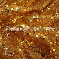 Ткань Пайеточная ткань  гладь  (золото )