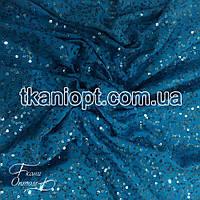 Ткань Пайеточная ткань волна на трикотаже  (бирюза)