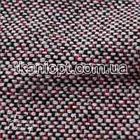 Ткань Пальтовая ткань твид (черно - красный)
