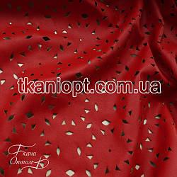 Ткань Перфорированный стрейчевый кожзам (красный)
