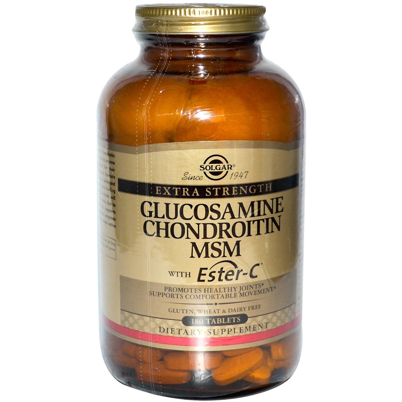 Глюкозамин-Хондроитин, МСМ, Эстер-C и коллаген тип 2, 120 таблеток, Solgar