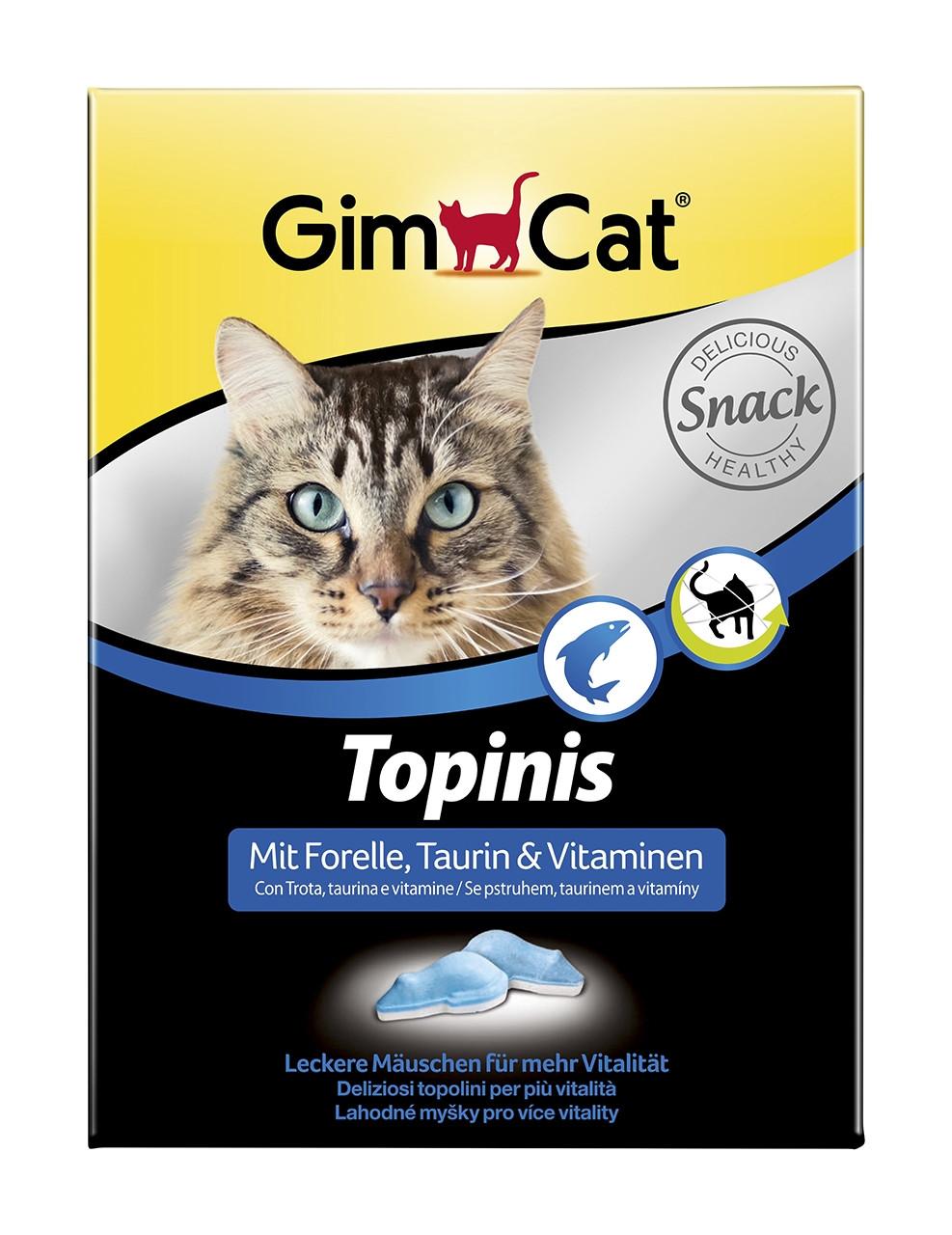 Вкусные мышки с форелью GimCat TOPINIS для улучшения обмена веществ, микрофлоры кишечника, 220 г