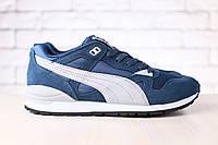 Мужские кроссовки, замшевые, синие, с кожаными вставками серого цвета, на шнурках