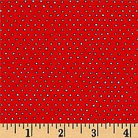"""Ткань для пэчворка и рукоделия американский хлопок """"Мелкие круги на красном"""" - 22*55 см"""