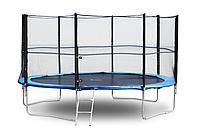 Батут FunFit 435 см с защитной сеткой и лестницей для взрослых и детей (Спортивный батут), фото 1