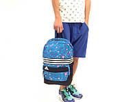 Спортивный рюкзак adidas, голубой с принтом, материал - полиестер с водоотталкивающей пропиткой