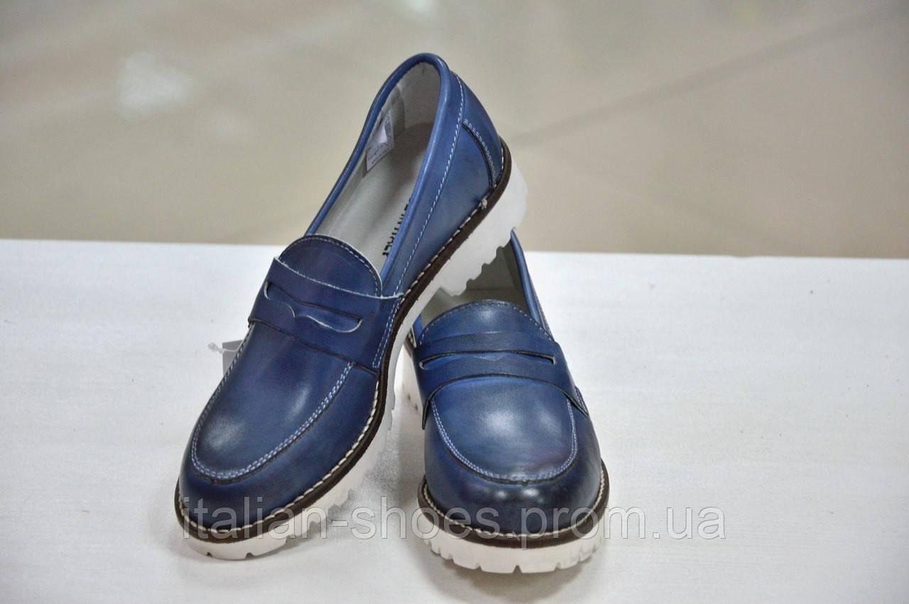 Женские итальянские кожаные синего с переливами цвета, туфли лоферы Verve