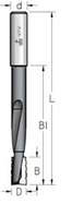 Фреза цилиндрическая для выборки пазов под дверные и мебельные замки D = 16 мм, хвостовик = 12 мм, L = 170 мм