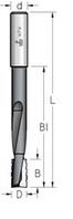 Фреза цилиндрическая для выборки пазов под дверные и мебельные замки D = 16 мм, хвостовик = 12 мм, L = 170 мм , фото 1