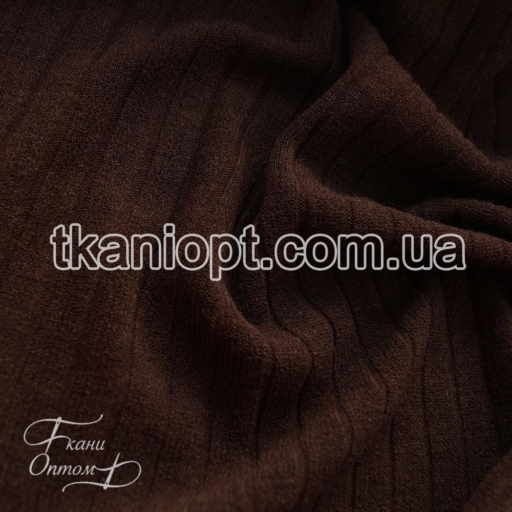 Ткань Трикотаж ангора полоска (коричневый)