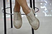 Женские итальянские кожаные бежевые туфли на шнуровке с перфорацией броги  Jore