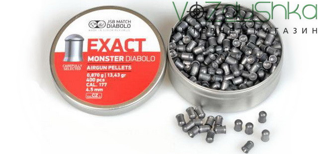 Пули jsb diabolo exact monster 4.52 мм 0,87 грамм