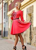 Красивое КОРАЛЛОВОЕ трикотажное платье с кружевной накаткой и стразами (размеры XL, XXL))