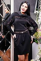 Молодежное трикотажное платье, низ бочонком, размеры 42-50 (3 цвета)