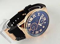 Мужские часы в стиле  Le Locle на черном каучуковом ремешке, цвет корпуса золото, фото 1