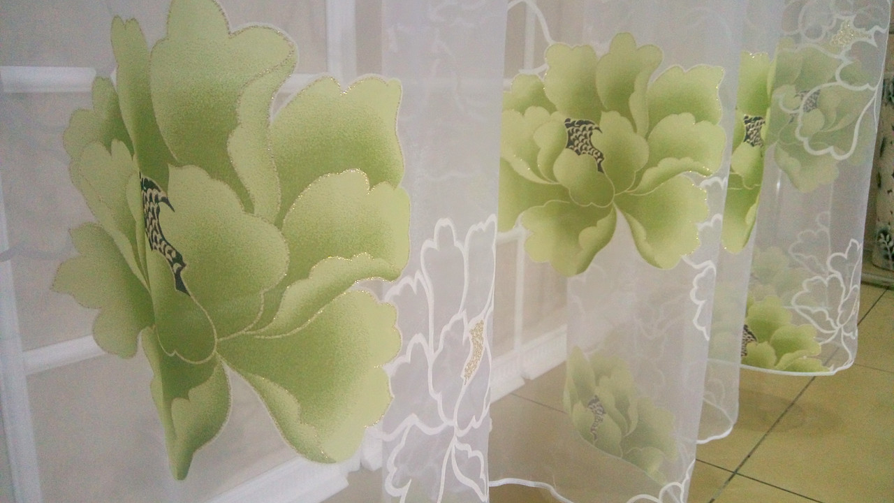 Тюль Цветы Зелёные, кристалон Devore