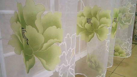 Тюль Цветы Зелёные, кристалон Devore, фото 2