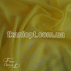 Ткань Шифон горох желто-белый (2 мм)