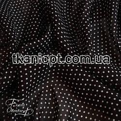 Ткань Шифон горох черно-белый (2 мм)