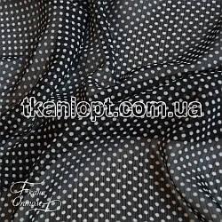 Ткань Шифон горох черно-белый (4 мм)