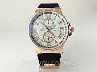 Мужские часы - Ulysse Nardin - Le Locle на черном каучуковом ремешке, цвет корпуса золото, светлый циферблат