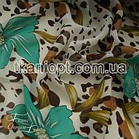Ткань Шифон принт (зеленые лилии с леопардом)