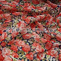 Ткань Шифон принт (цветы росписные коралловые на т.син)