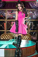 Красивое платье с клешеным низом, неопрен (черное, синее, красное)